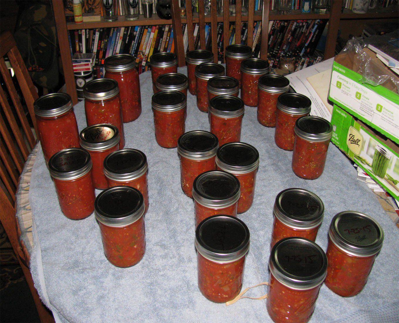 glass jars preserving salsa