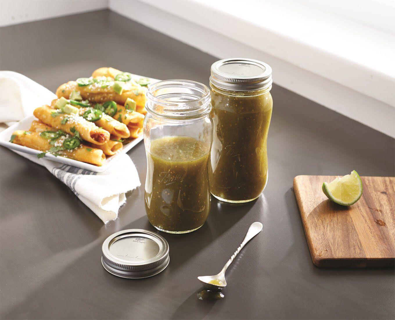 glass jars preserving salsa verde