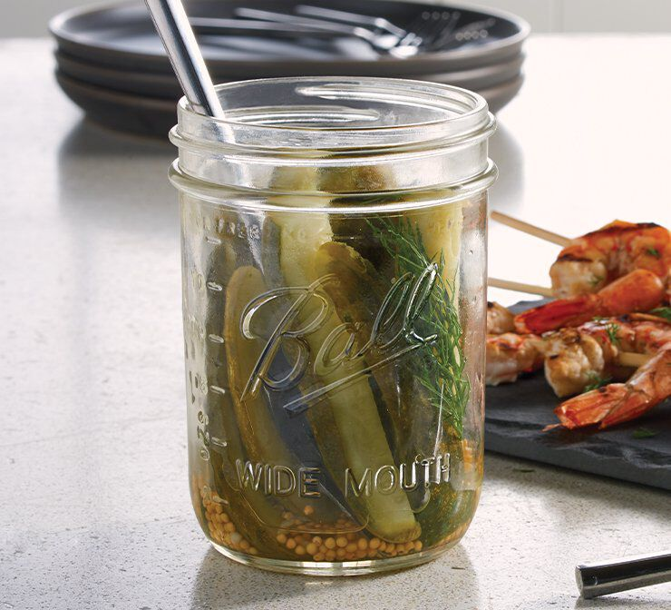 Glass wide mouth canning jar no lid