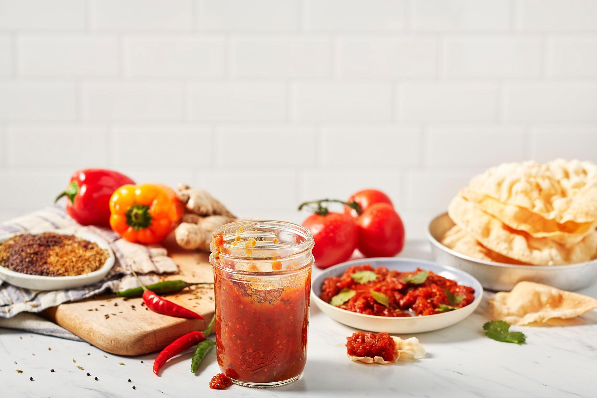 Mason jar and food on kitchen table