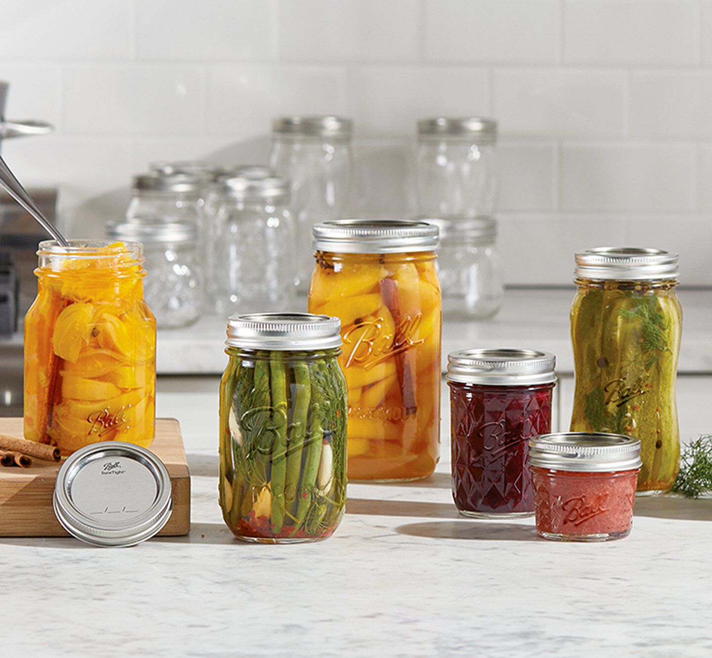 Canning jar assortment with lids and bands
