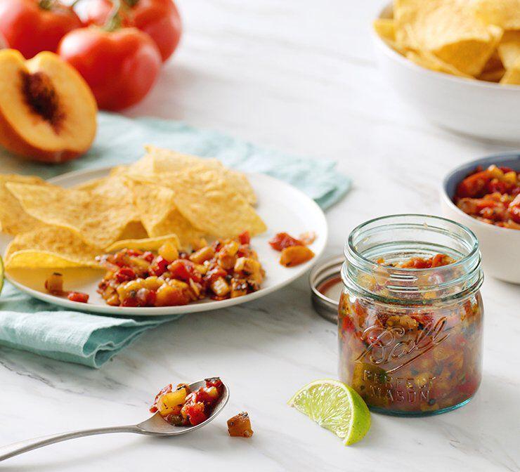 peach salsa in ball jar
