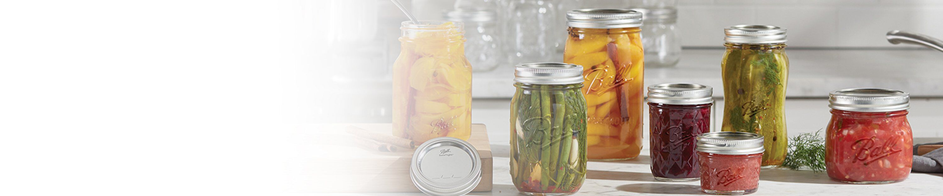 ball canning jars on counter
