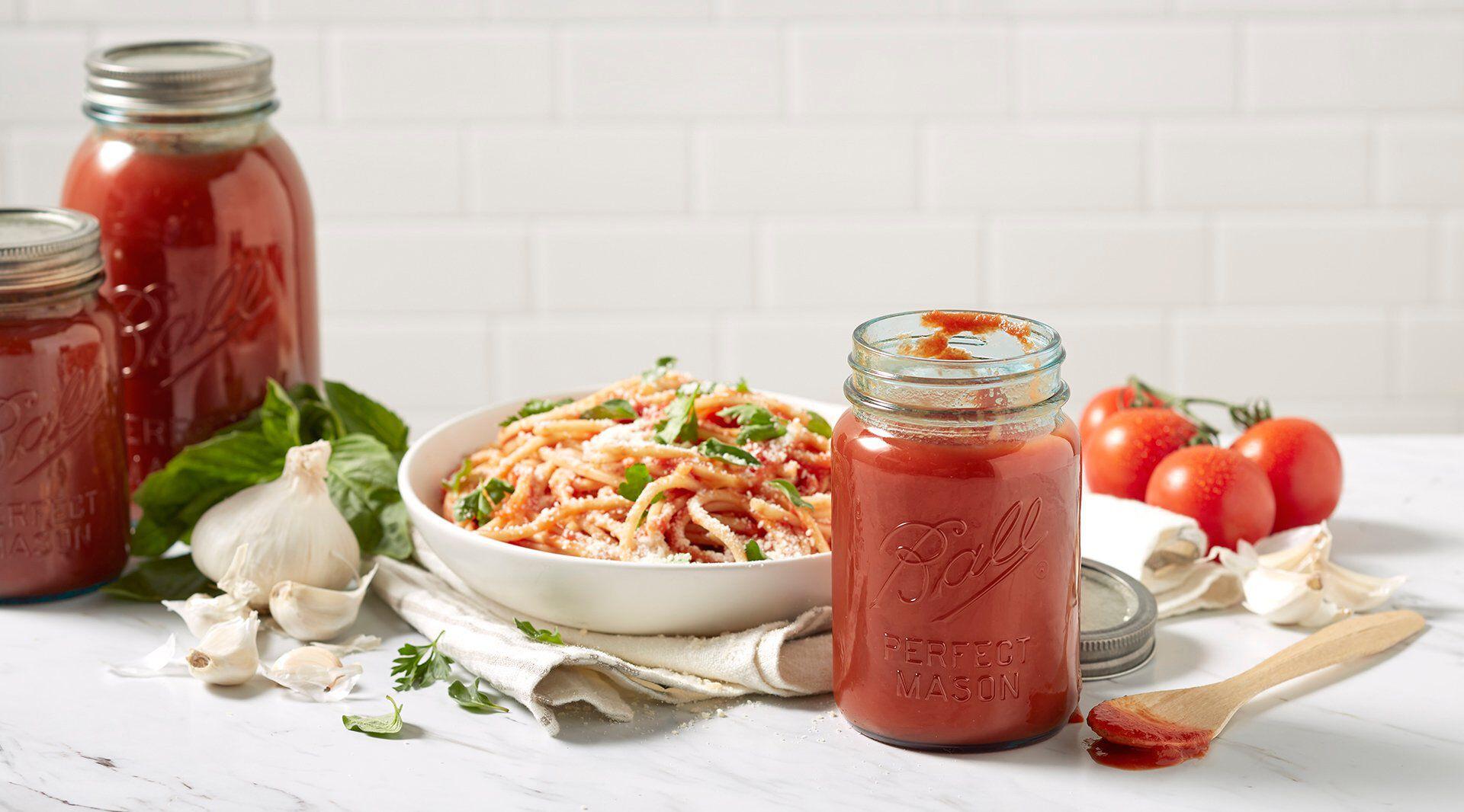 sauce in ball jar