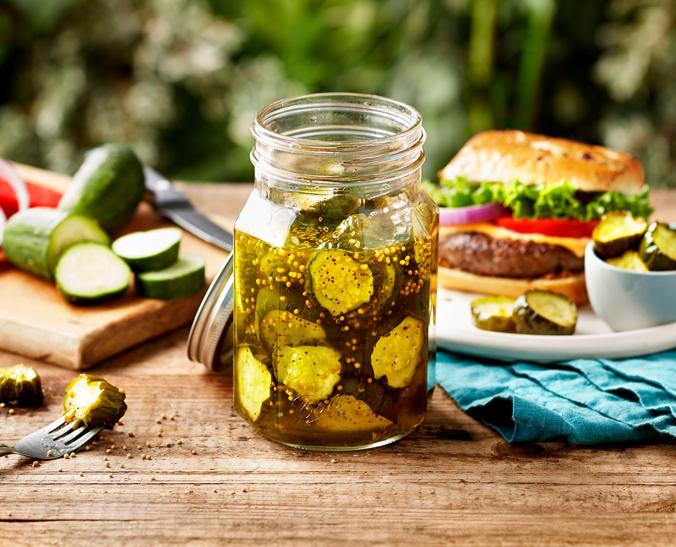 pickles in ball jar