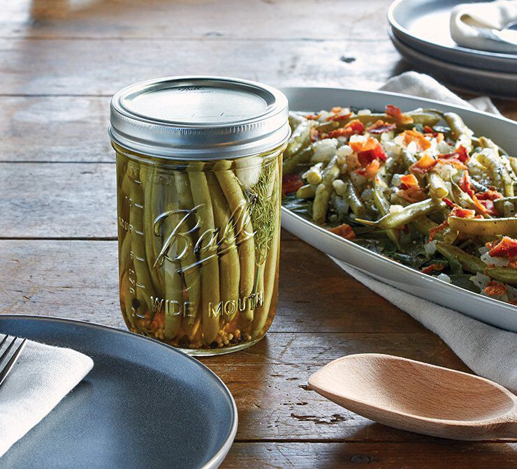 Glass wide mouth canning jar with lid and band