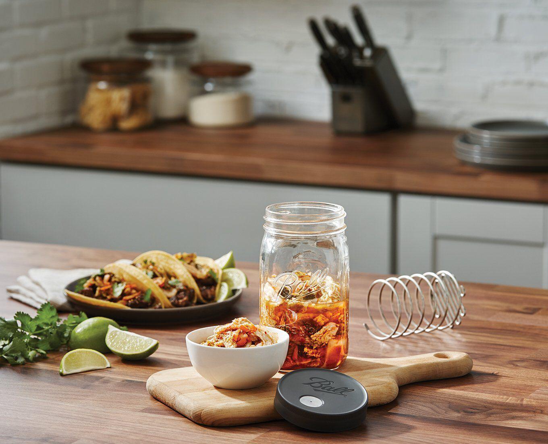 food in glass mason jars